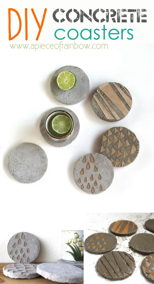 Diy make concrete coasters a piece of rainbow for How to make concrete coasters