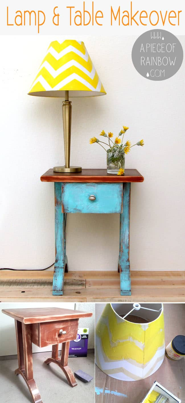 DIY Chevron lamp and chippy paint table-makeover   a piece of rainbow
