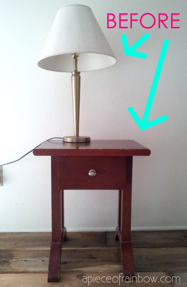 old lampshade and side table thrift store furniture makeover