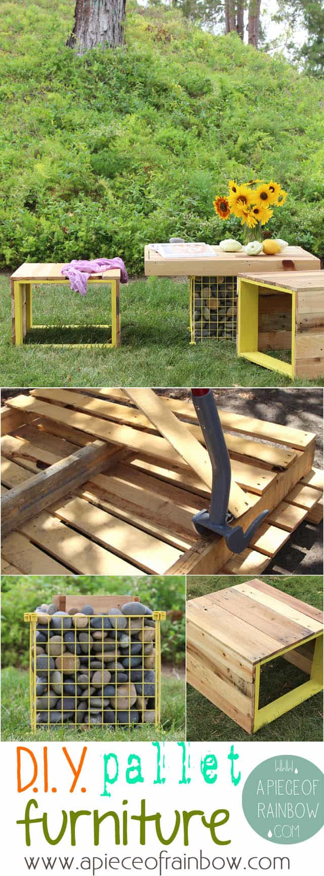 make pallet garden furniture  benches and gabion table    www apieceofrainbow com. Make pallet bench table   A Piece of Rainbow