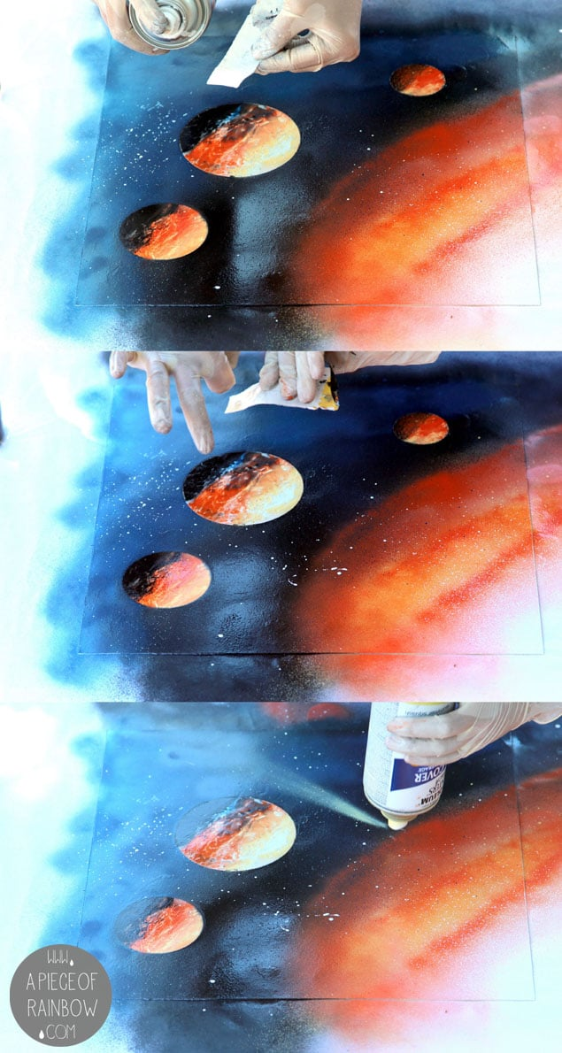 make stars and planets spray paint art