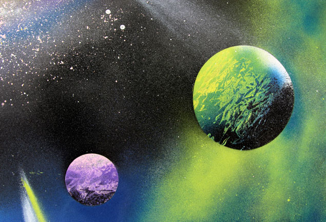 how to spray paint art galaxy