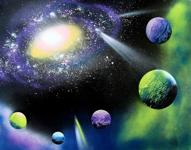 How To Spray Paint Art Planets Amp Galaxy A Piece Of Rainbow
