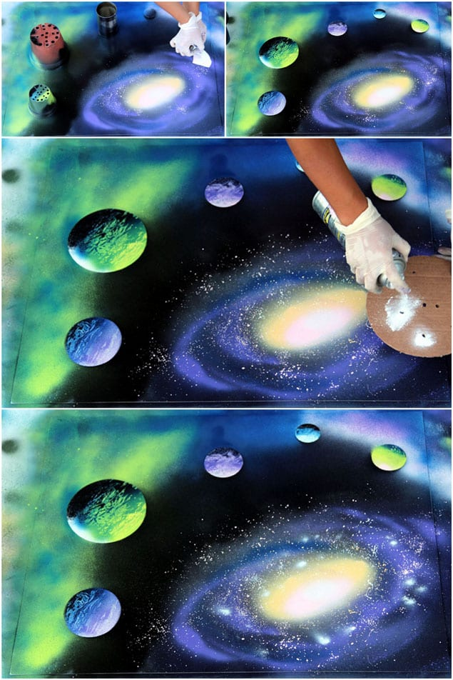 how to spray paint art planets galaxy a piece of rainbow. Black Bedroom Furniture Sets. Home Design Ideas