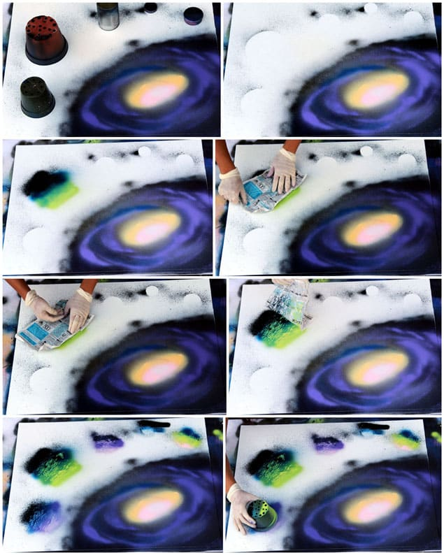 how to spray paint galaxy planets