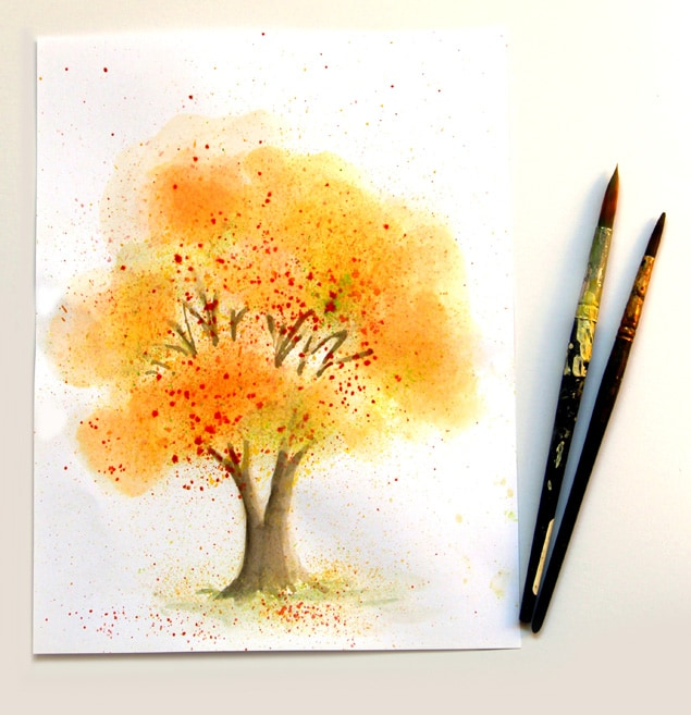 How to paint a beautiful watercolor tree in fall colors with fun, unusual & easy watercolor painting techniques in this step by step tutorial, great for beginners!