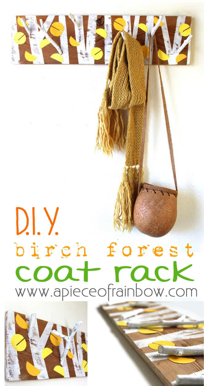 DIY birch forest coat rack- www.apieceofrainbow.com