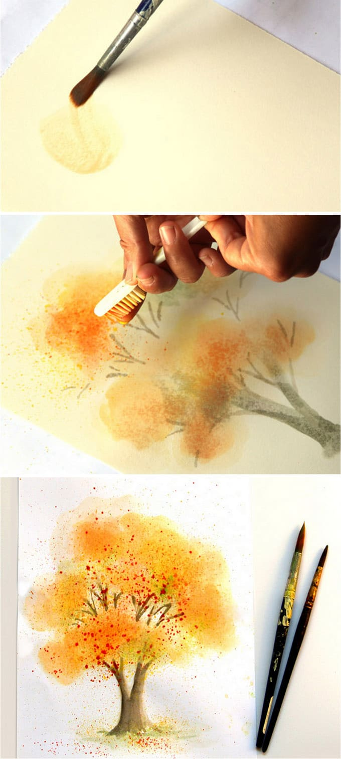 Learn watercolor painting fall tree a piece of rainbow for Watercolor painting step by step
