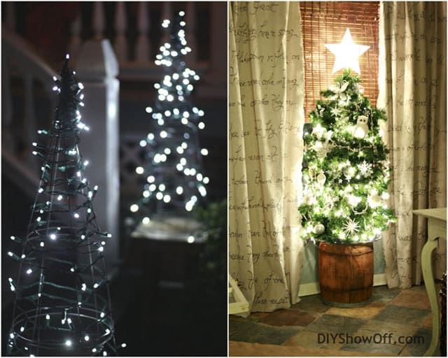 Amazing christmas decoration ideas diy christmas trees the one one the left made by 17apart is so simple and chic just add string lights the one on the right made from diy solutioingenieria Choice Image