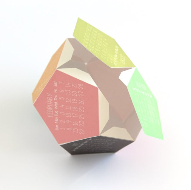 make 3D 2020 calendar from 2 pieces of paper
