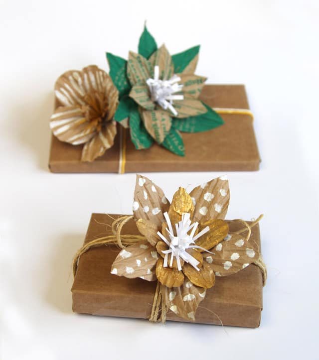 How to gift wrap using up cycled paper bag flower toppers gift wrap apieceofrainbow 1 mightylinksfo