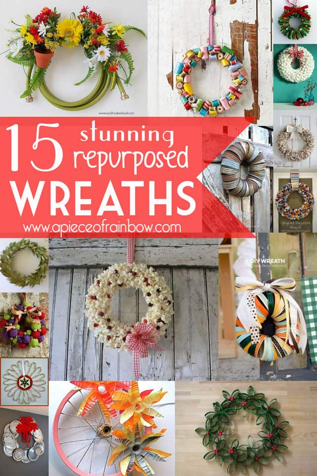 repurposed wreaths copy - 30+ Upcycled Christmas Wreaths