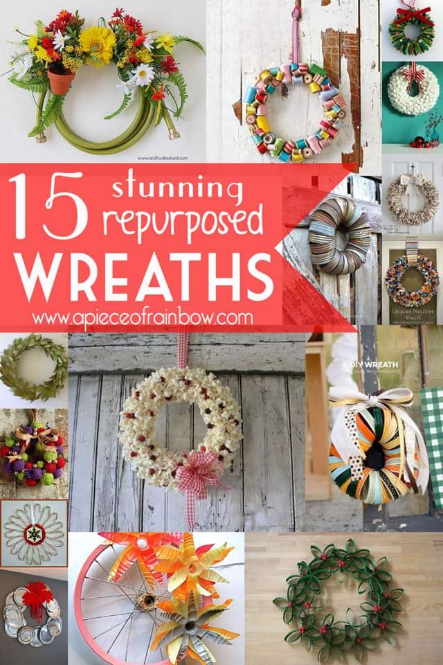 repurposed wreaths copy - 15 Stunning Repurposed Wreaths