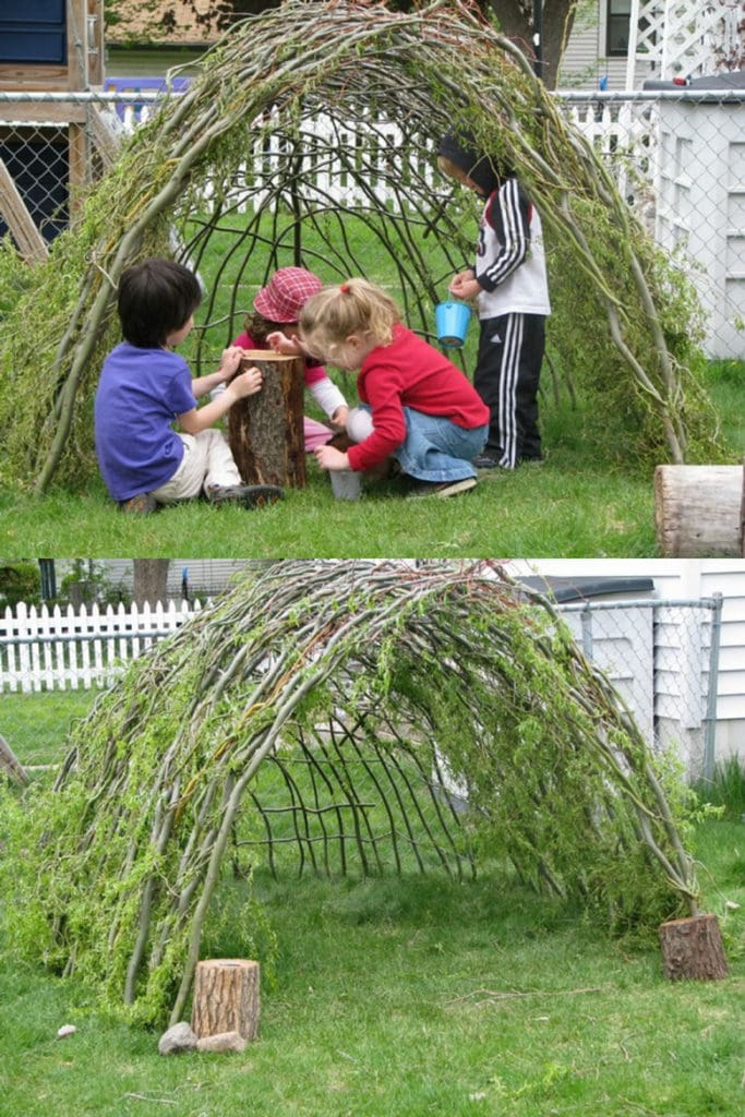 children playing under living willow pergola