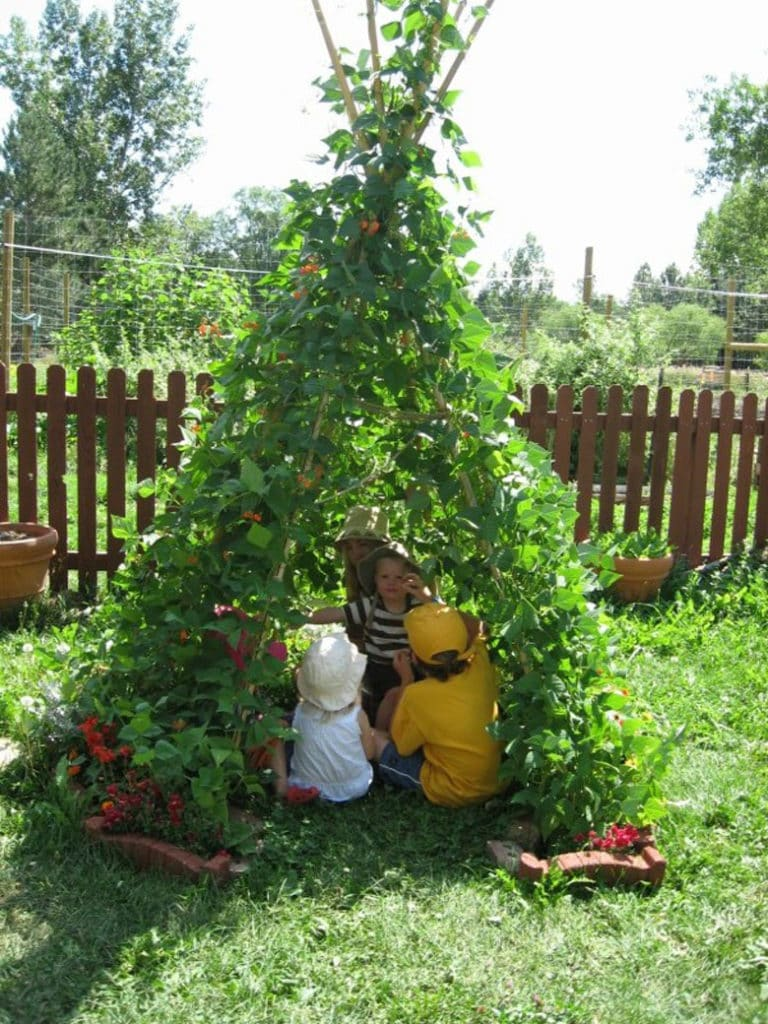 kids love to play under Bean Teepees in the garden