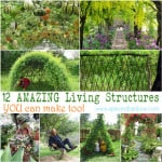 Grow your own garden decorations that are living, functional and beautiful. Unique garden decor ideas on how to create magical living structures and accents such as grass sofa, tree chair, grape tunnel, bean teepee, willow dome, living fence, and more! - A Piece Of Rainbow