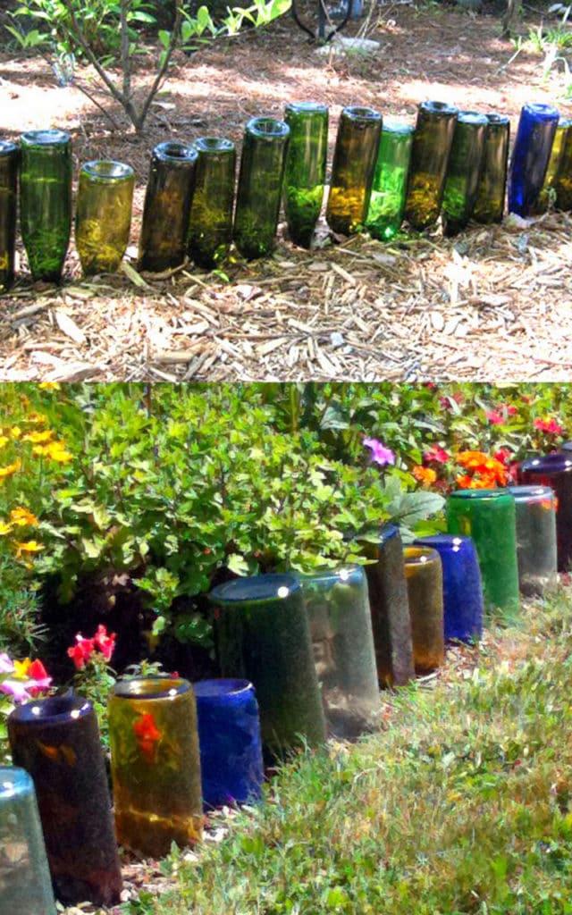 Recycled glass bottle garden edging