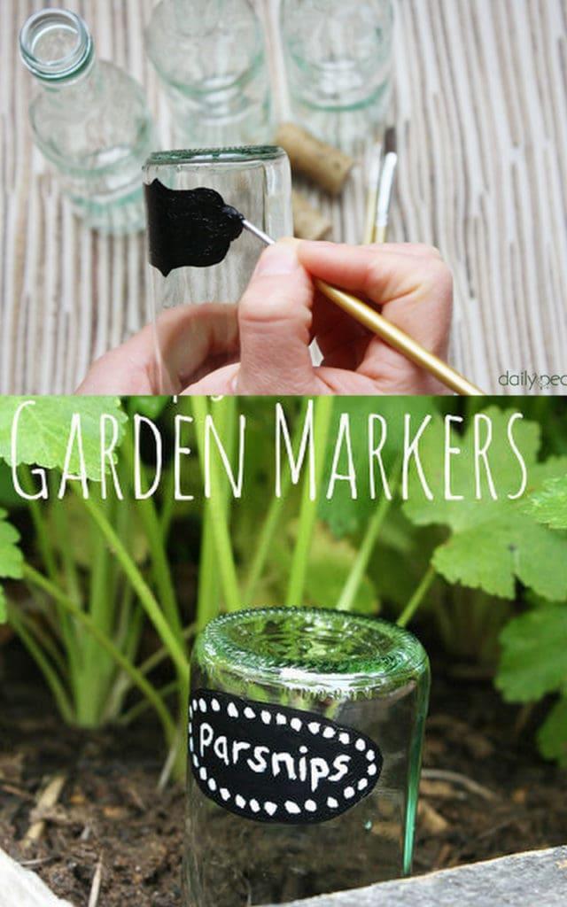 Glass bottle garden markers