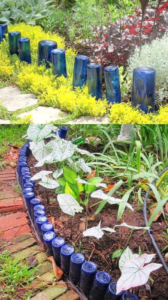 blue glass bottle garden edging