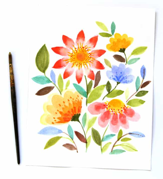 paint watercolor flowers-a piece of rainbow blog