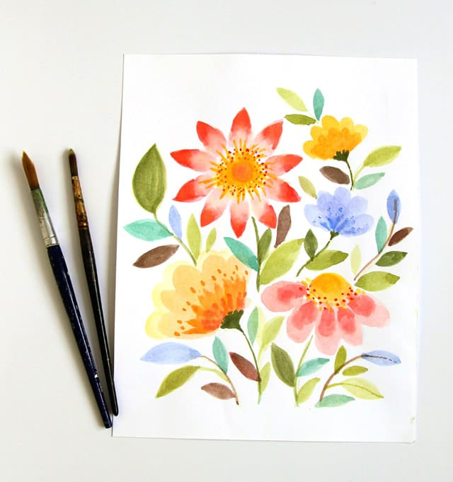 Paint watercolor flowers in 15 minutes for Watercolor tutorials step by step