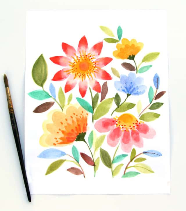 paint watercolor flowers-a piece of rainbow