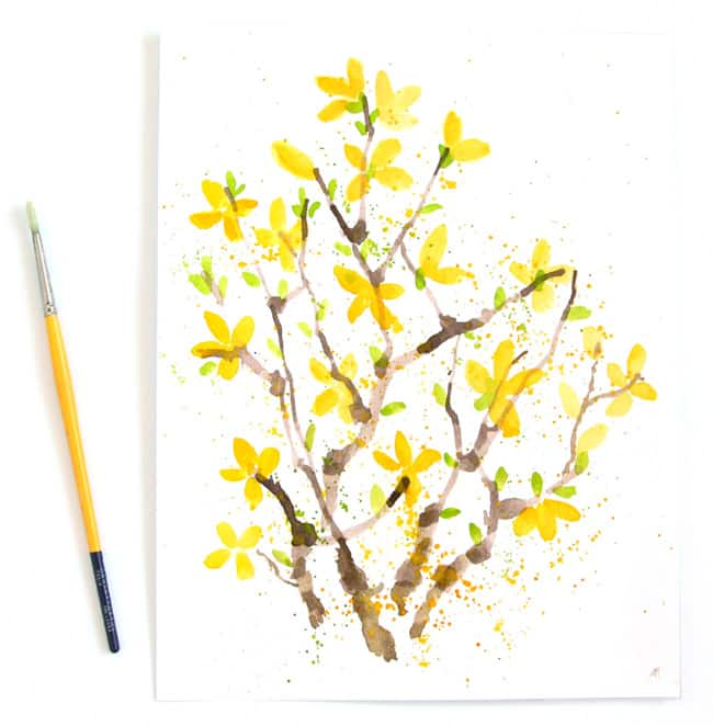 Paint watercolor Forsythia flowers with a straw