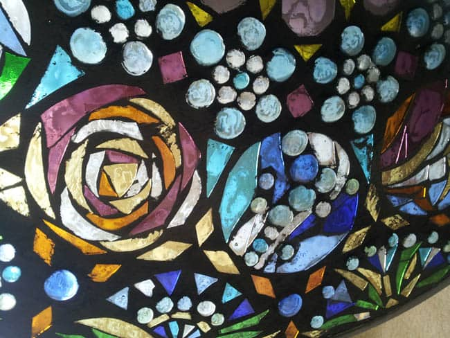 How to make stained glass mosaic wall light for Make your own stained glass window film