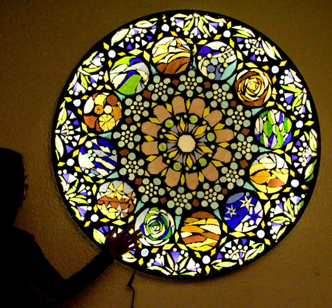 how to make stained glass mosaic wall light