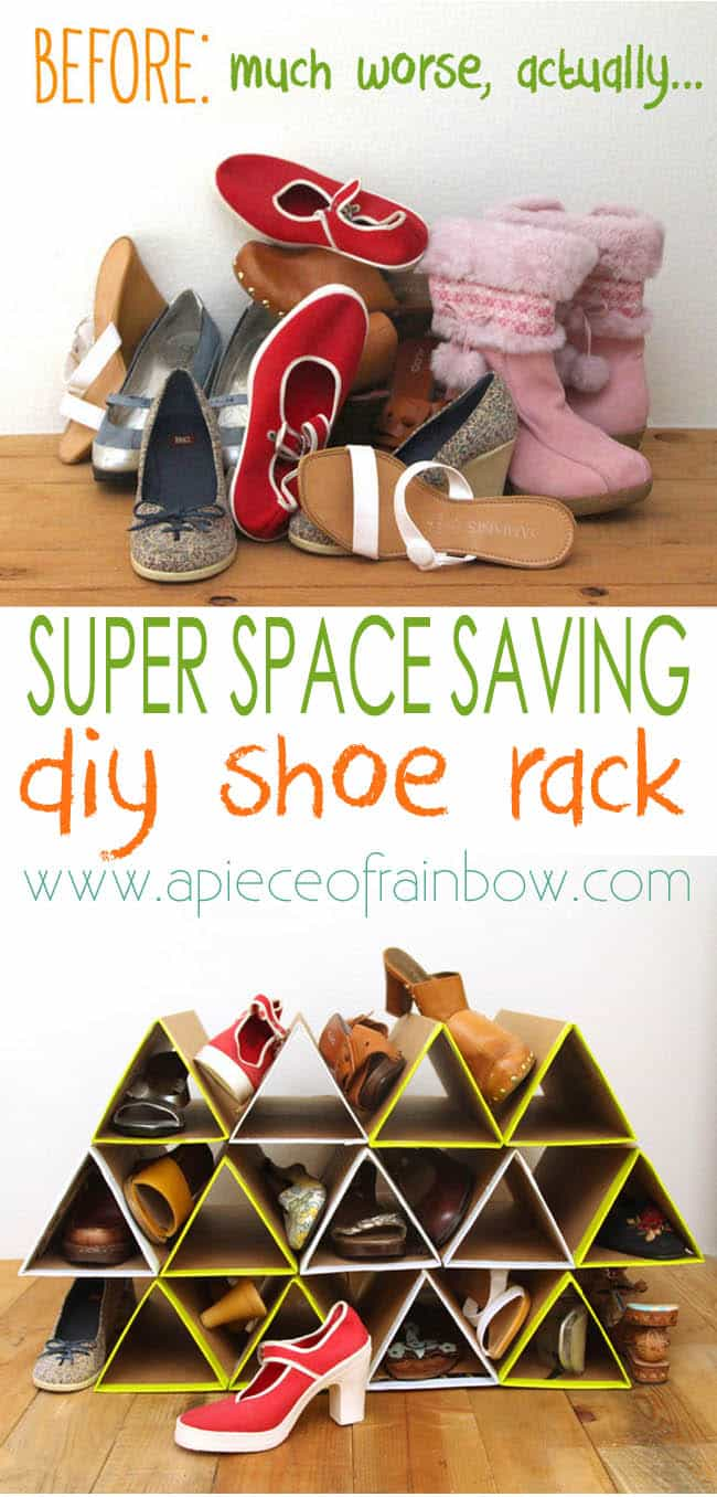 SUPER space saving and surprisingly sturdy DIY shoe rack using cardboard