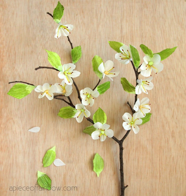 These simple DIY paper cherry blossom branches will look so lovely in any style of home from country to vintage to modern! Free template included!