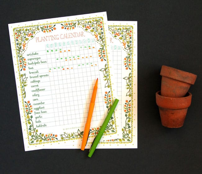 Enterprising image with printable seed starting chart
