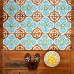 How to make your own stencils and create beautiful stenciled pallet wood floor or wood door mat in this detailed tutorial! Free template download included.