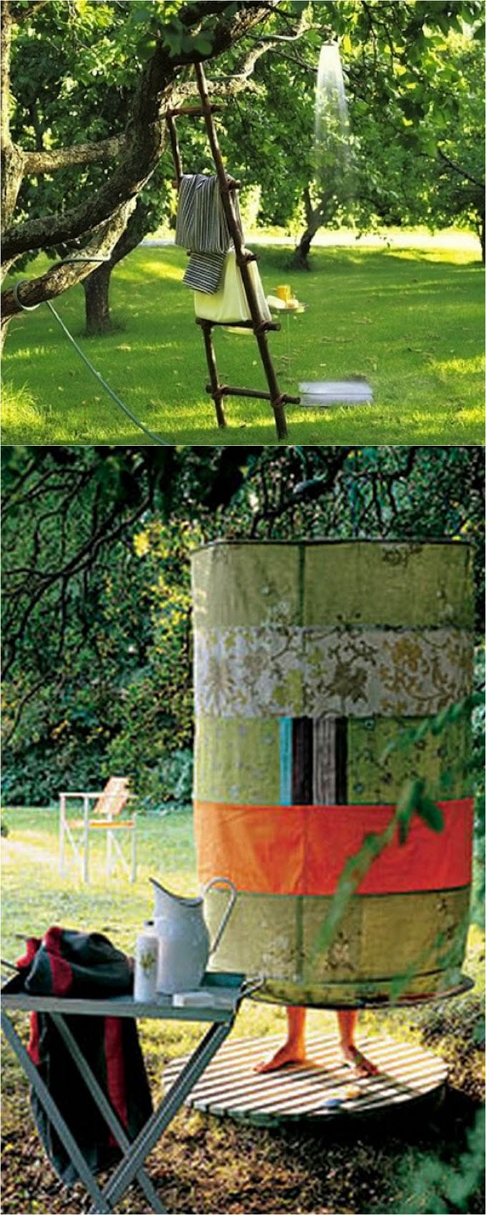 An Old Tree, A Hose, And A Tower Ladder, Life Is Perfectu2026. If You Want A  Simple Outdoor Shower Enclosure, Take Two Large Hula Hoops Like These 36u2033  Ones, ...