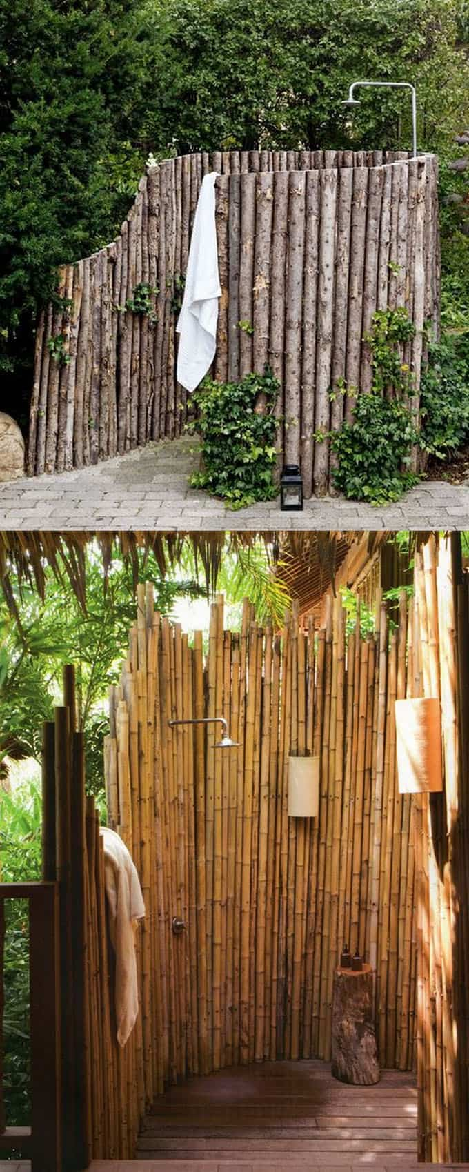 backyard DIY Outdoor Shower ideas using bamboo fence and logs