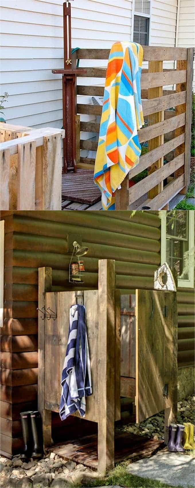 DIY pallet wood backyard Shower Enclosure