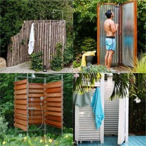 32 inspiring outdoor shower ideas from easy DIY outdoor shower enclosures, creative instant showers, best outdoor shower kits and fixtures, to free building plans and more! Build one today and have the best summer ever!