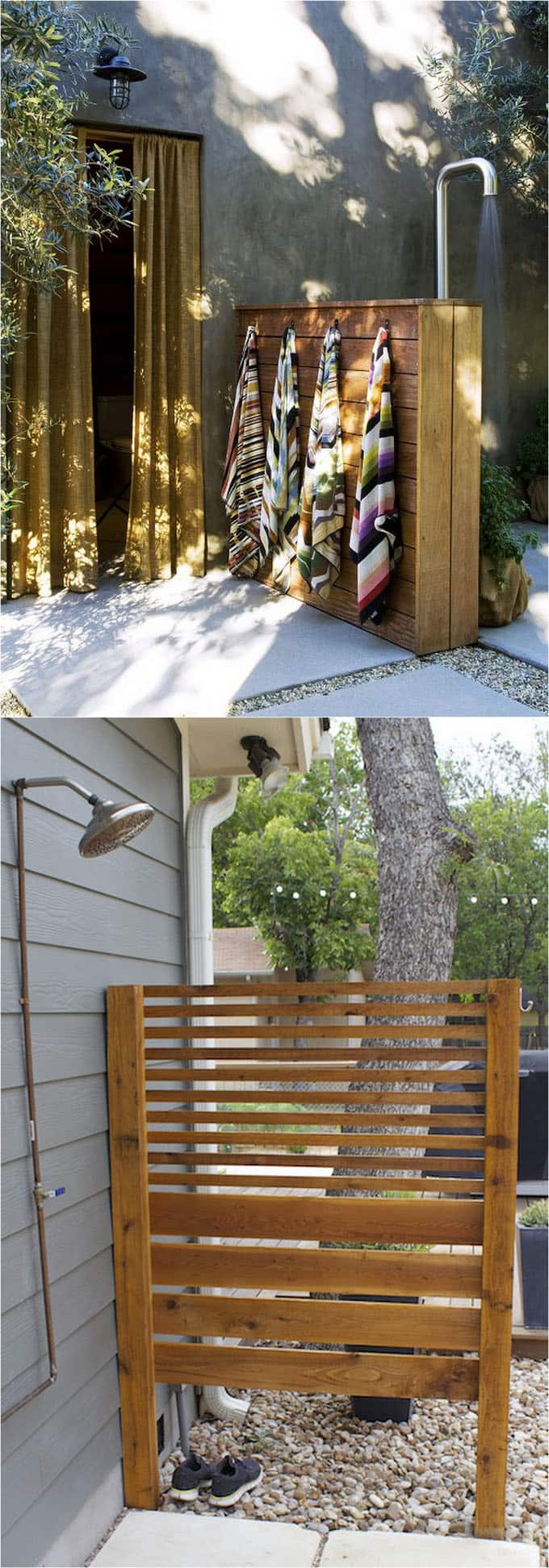 Simple Outdoor Shower Ideas Part - 22: One Panel Outdoor Shower Enclosure