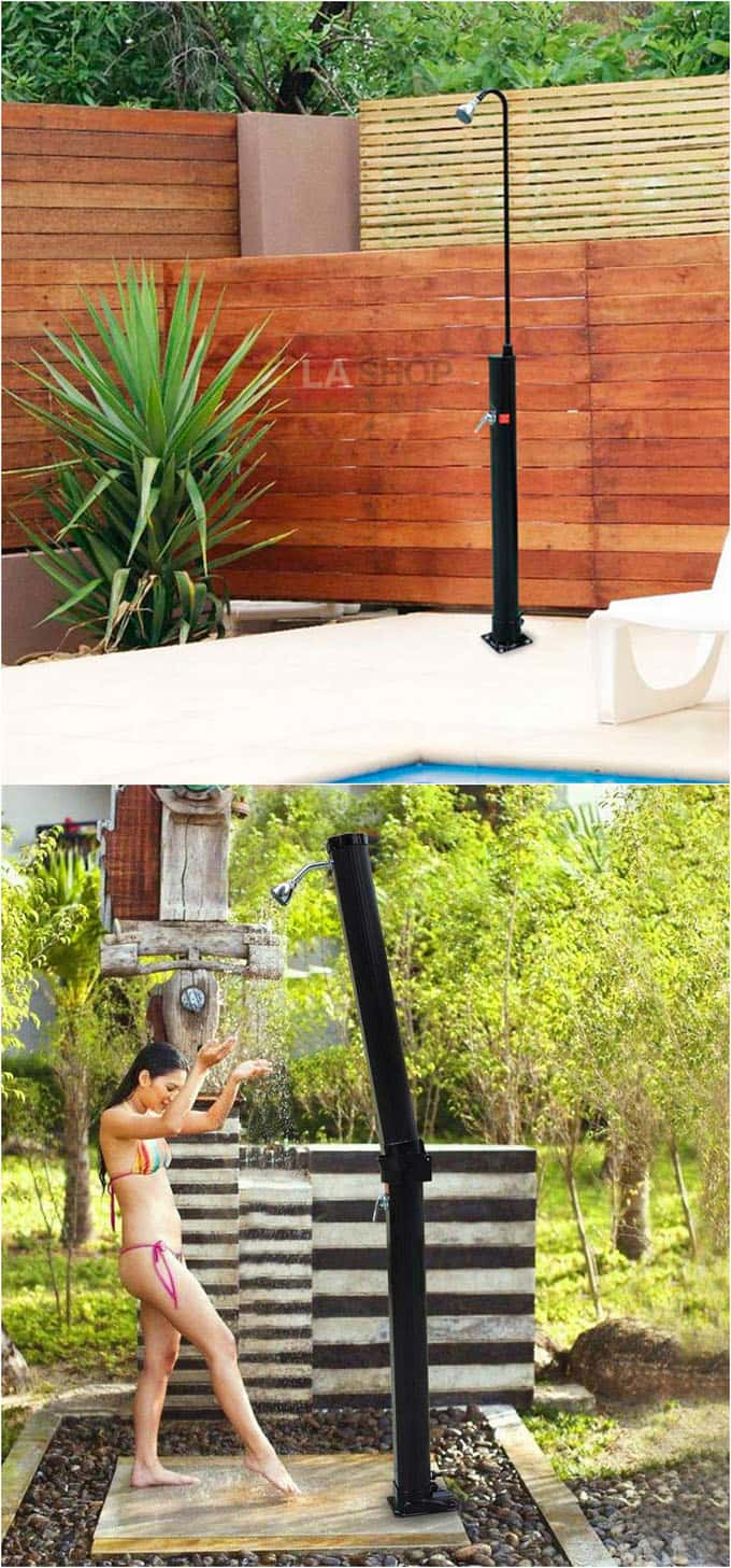 diy solar shower outdoor dusche gartendusche fr einen. Black Bedroom Furniture Sets. Home Design Ideas