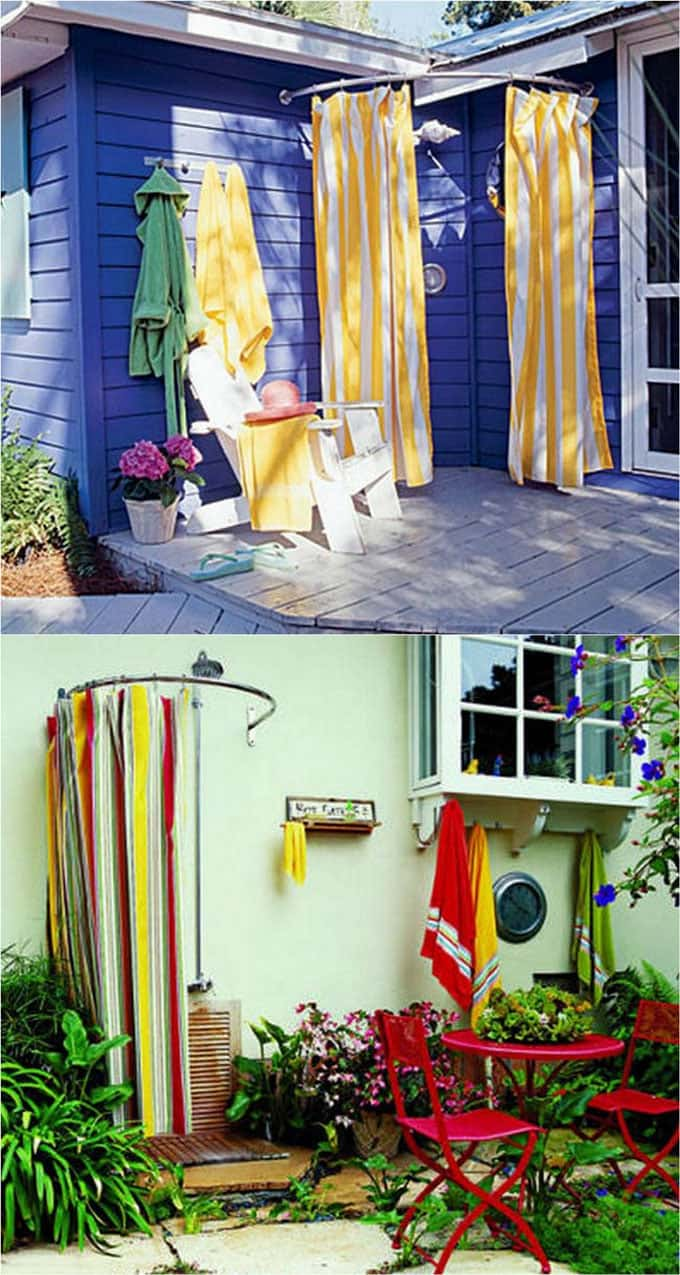 Shower Curtains Or Outdoor Fabrics Come In All Kinds Of Colors And  Patterns. Use With A Bendable Or Half Oval Shower Curtain Rod Or A Bendable  Metal Rod To ...