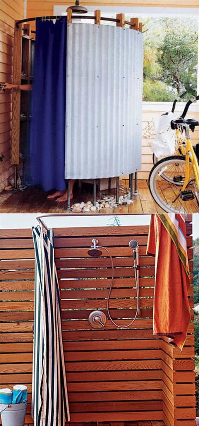 Bathroom lighting window wall paint curtain door outdoor shower - Shower Curtains Or Outdoor Fabrics Come In All Kinds Of Colors And Patterns Use With A Bendable Or Half Oval Shower Curtain Rod Or A Bendable Metal Rod To