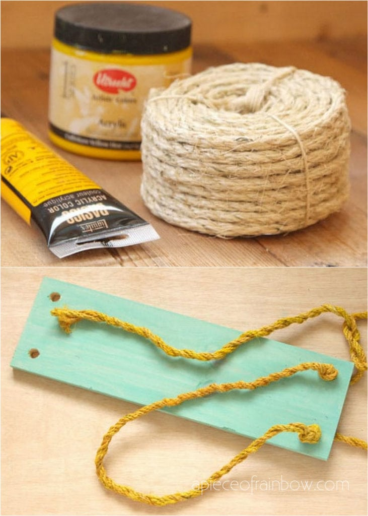Materials and tools to make DIY hanging rope shelf