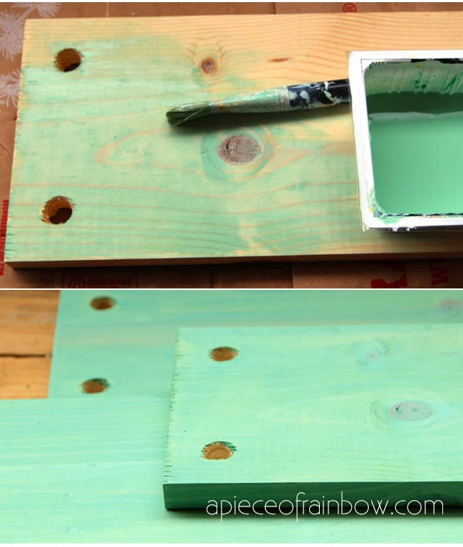 Paint the wood with your favorite colors of acrylic paint or milk paint