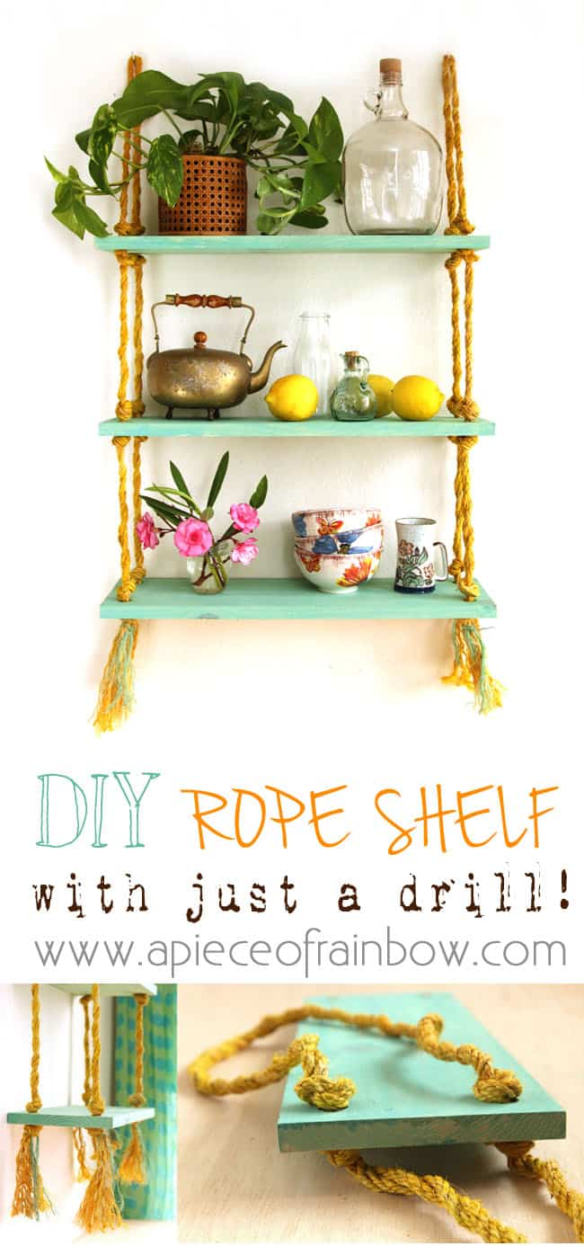 Easy DIY hanging rope shelf tutorial: how to make beautiful boho farmhouse wood wall shelves for storage & home decor, with rope & a drill!