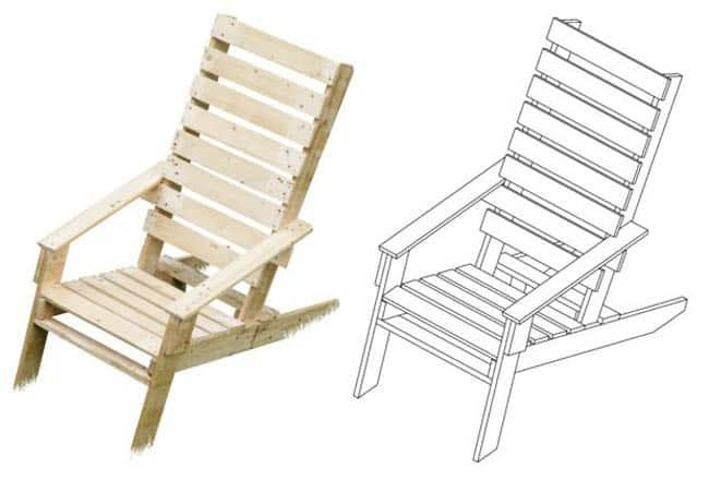 DIY pallet Adirondack chair free plan