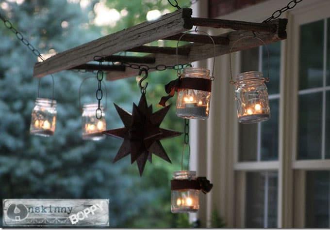 pallet ladder hanging lights chandelier