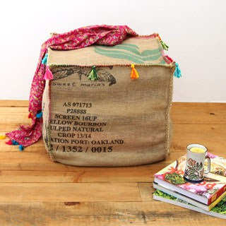 Make an unique and gorgeous Burlap Coffee Bag Ottoman from only one coffee bean bag! Triple functions: seating, side table, and storage all in one! | A Piece Of Rainbow