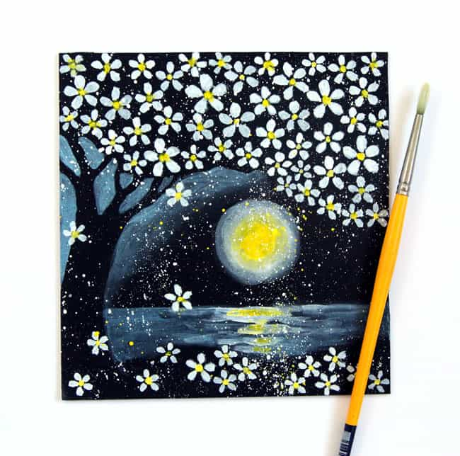 Easy and detailed tutorial on how to paint cherry blossoms on black paper, and create a magical night landscape of cherry blossoms in the moon light.