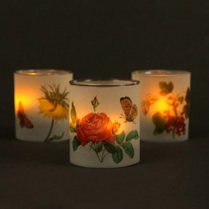Make a set of 4 lovely butterfly and flower candle holders in minutes! Download free vintage illustrations to make your own beautiful frosted luminaries!