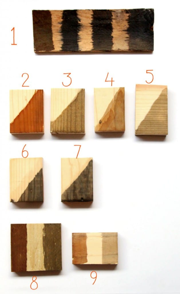 Comparisons of different home made DIY wood stains and how to achieve these different colors.